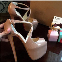 Wholesale big bottom sandals for sale - Group buy 2019 women new fashion red bottom high heels dress shoes party shoe super high heel stiletto peep toe sandals big size EU to