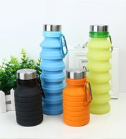 Wholesale retractable water bottle resale online - Portable Silicone Water Bottle Retractable Folding Coffee Bottle Outdoor Travel Drinking Collapsible Sport Drink Kettle VT0037