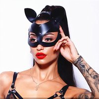 Wholesale woman halloween costume mask resale online - 5 Colors Sexy Women Cat Ears Mask Halloween Cosplay Accessory Catwoman Half Face Mask Masquerade Party Fancy Adjustable Domino