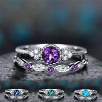 ingrosso gioielli in pietra di zircone-Compleanno di pietra zircone cubico Anello di cristallo di diamante Set coppia di fidanzamento Fedi nuziali regalo di gioielli moda donna 080393