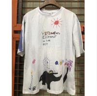 ingrosso elefante della maglietta-Maglietta 2019 Elephant Vetements Uomo 1v: 1 T-shirt di alta qualità Graffiti Vetements Top Tees Vetements