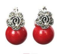 korallen perlen blumen großhandel-heißer Verkauf neu - Dame 12mm rote Koralle Korn Blume Markasit 925 silberne Ohrringe