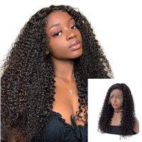 bakire saç kıvırcık kıvırcık ön toptan satış-Afro Kinky Kıvırcık İnsan Saç Dantel Peruk # 1B Doğal Siyah 360 frontal peruk Bebek Saç ile 150% Yoğunluk Bakire Brezilyalı Peruk