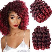 Wholesale grey kanekalon braiding hair resale online - Hot Sale strands Jumpy Wand Curl Jamaican Bounce Synthetic Braiding Hair Extension Crochet Braid Kanekalon Hair for Black Women