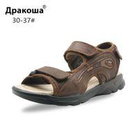 Wholesale sandal shoes for kids boys resale online - Apakowa Kids Summer Cowhide Beach Sandals for Big Boys Little Child Straps Soft Genuine Leather Sports Sandals Shoes EU