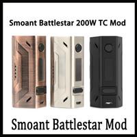 diseño de la batería vape caja al por mayor-Smoant Battlestar 200W Box Mod Nuevos colores 200Watt Vape Mod Dual 18650 Batería 510 Conector de hilo Diseño compacto 0266132