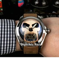 New Bubble Steel Case L390 03694 Black Dial Gray Skull Tourbillon Automatic Mens Watch Brown Leather Strap Gents Watches Hello_Watch 6 Color