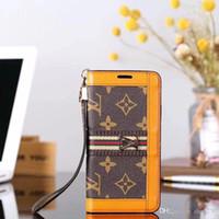 paris eyfel karikatür toptan satış-Metal LOGO çevir cüzdan kılıf deri telefon kılıfı iphone Xs max Xr X 7 7 artı 8 8 artı 6 6 artı marka tasarım kart yuvası ile