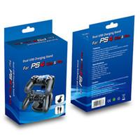 oyun kumandası standı toptan satış-Çift Kontrolörleri Şarj Şarj Dock Sony PlayStation 4 PS4 PS 4 Için İstasyonu Standı 4-box Tek Oyun Oyun Kablosuz Denetleyici Konsolu