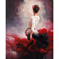schöne frau ölgemälde großhandel-Ölgemälde auf Leinwand Woman Stand By schöne Kunstwerke für Wohnzimmer handgemalt