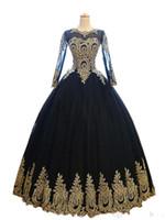 modestes robes de femme de chambre noire achat en gros de-Sexy Noir Et Or Robe De Bal Robe De Soirée Robes Formelles Robes 2019 Longue Illusion Manches En Dentelle Applique Tulle Pas Cher Designer robe de soirée Prom