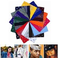 bufanda roja de algodón al por mayor-2019 nueva moda Hip Hop 100% algodón bandana bufanda cuadrada 55 cm * 55 cm negro rojo paisley diadema impresa para mujeres / hombres / niños / niñas