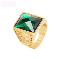 cor da china pedra preciosa venda por atacado-Dragão e phoenix gemstone jóias anéis de ouro cor titanium aço figura anel de fundição real anéis para homens frete grátis