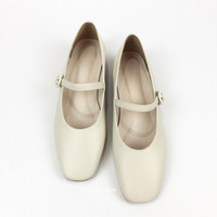 Wholesale eva gloves resale online - Spring Autumn Vintage Genuine Cow Leather Mary Jane shoes Women flats Versatile Square Toe French style White Glove Shoes Normance All Match