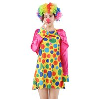 Wholesale dresses clown women online – ideas 170cm cm Halloween Funny Clown Costumes girl Christmas Adult Woman Man Joker Cosplay Party Dress Up lovely Xmas New Year Suits