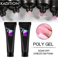 Wholesale white tipped fake nails resale online - KADITION Hot Sale Poly Gel Nails Fake Tips Thick Jell Acrylic Gel Polygel Set Finger Extend Builder Brush Polygel Nail Tool