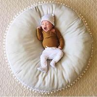 tapis de jeu achat en gros de-2019 bébé sac de fèves chaise coton rond doux tapis de jeu rampant tapis de jeu à la maison enfants enfants chambre Decor 90 * 90 cm jaune gris