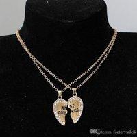 pendentifs de navire ami achat en gros de-Meilleurs amis colliers creux coeur pendentif colliers alliage strass collier d'amitié bijoux pour ami livraison gratuite