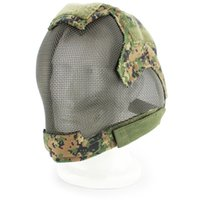 защитные маски для лица оптовых-Tactical Full Cover Face Cycling Mask  War Game Steel Mesh Paintbal Head Protective Mask