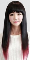 peluca larga franja recta al por mayor-Peluca Envío Gratis Lolita Style BlackRed Fringe Wig Lady Long Long Straight Gradient Hair Cosplay Party