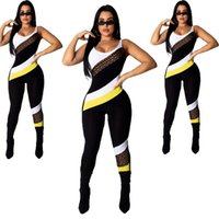 Wholesale one piece backless jumpsuit for sale - Group buy Women Sleeveless Jumpsuit Summer Backless Rompers Patchwork Cloth Letters Print Body Suit One Piece Legging Sports Tracksuit GGA1770