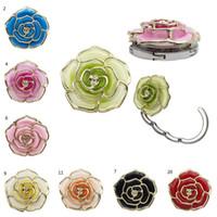 Wholesale rose shaped purse resale online - Rose Shape Foldable Bag Purse Hook Portable Rose Table Hook for Bag Creative Multiple Bag Desk Hanger