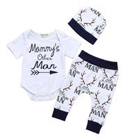 Wholesale baby 3pcs clothing set trousers resale online - Mommy s Other Man Newborn Baby Boy Short Sleeve Cotton Bodysuit Tops Deer Pant Trouser Hat Outfits Boy Clothing Set