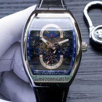 yat saatleri toptan satış-Yeni Saratoge Vanguard S6 Yatçılık V45 S6 YACHT Çelik Kasa İskelet Mavi Dial Otomatik Erkek İzle Deri Kayış Gents Saatler Timezonewatch