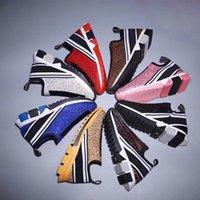zapatos plataformas diamantes al por mayor-Zapatos casuales de diamantes Hombre de lujo Diseñador Cuero mujer de cristal Plataforma de zapatos deportivos Moda pcv Parte inferior gruesa Zapatos de viaje alfabéticos 34-45