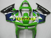 kawasaki ninja kits corps de moto achat en gros de-Kit de carénage de moto pour KAWASAKI Ninja ZX6R 636 98 99 ZX 6R 1998 1999 ABS Vert bleu noir Carénages + cadeaux KP09