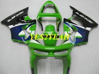 kawasaki ninja kits de cuerpo de moto al por mayor-Kit de carenado de motocicleta para KAWASAKI Ninja ZX6R 636 98 99 ZX 6R 1998 1999 ABS Verde azul negro Carenados Carrocería + Regalos KP09