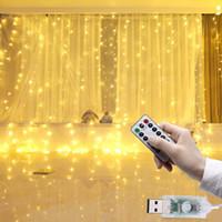 drahtzähler groihandel-300 LED 3x3 Meter LED-Vorhang-Licht Wasserdichtes USB Kupferdraht-Fee-Licht mit Fernbedienung Außen Garland Für Xmas Party