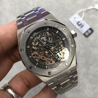 Wholesale mens wrist watch series resale online - wholesaleTop mens watch Sapphire Glass ST OO ST series MM skeleton dial automatic movement Solid Stainless strap wrist watch