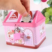 kleine haus geschenk-boxen groihandel-Kreative Karikatur Kleiner Tin House Nette Piggy Bank-Geld-Geld-Boxen Tinplate Sparkasse bestes Geschenk für Kinder Kinder
