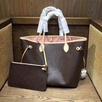Wholesale leather fashion casual bag resale online - price sell high quality leather oxidate NEVERFULLS MM GM TAHITIENNE women totes with Pouch shopping shoulder bag