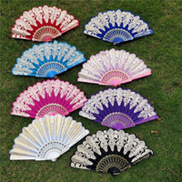 Wholesale hand hold fans resale online - 23 CM Folding Hand Held Flower Fan Colors Summer Chinese Spanish Style Dance Wedding Lace Colorful Fans Party Favor
