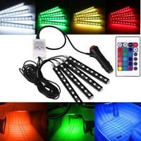 lámpara de pie decorativa al por mayor-Luces decorativas interiores del piso del coche de 7 colores Luces de la tira de la lámpara del RGB 9 LED Ambiente ligero del coche que labra con control remoto inalámbrico