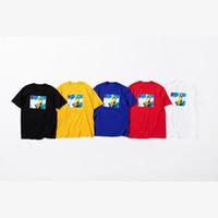 fotos nieve al por mayor-18fw BOX LOGO Foto Tee Esquí Carta de Nieve Impreso Casual Simple camiseta Fashion Street Skateboard Verano Mangas cortas HFTTTX014