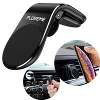 воздух оптовых-Магнитный держатель для автомобильного телефона Floveme Air Vent Clip Подставка под телефон для iPhone Samsung Huawei GPS Универсальный с розничной упаковкой