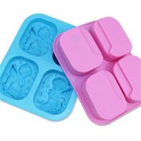 melek ürünleri toptan satış-Mavi Dört Melekler Kek Kalıbı Pembe Yüksek Sıcaklık Dayanımı Sabun Kalıpları Food Grade Silika Dikdörtgen Pişirme Ürünleri Kolay Demoulding 9 5ryb1