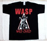 ingrosso nero in metallo contorto-Estate 2018 Nuovo W.A.S.P. WILD CHILD'85 HEAVY METAL BAND WASP TWISTED SISTER NEW BLACK T-SHIRT Maglietta estiva