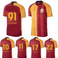 ingrosso magliette arancioni-2019 Galatasaray maglie calcio GOMIS Linnes Cigerci Belhanda FERNANDO Feghouli DONK personalizzato Arancione Nero Bianco 18 T-shirt 19 di calcio