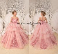 Wholesale orange black organza skirt resale online - Blush pink Flower Girl Dresses luxury lace applique tiered ruffles skirt lace up cap sleeve Wedding party Bridesmaid Holiday dress