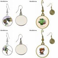 charakter cabochon großhandel-Spielfigur Glas Cabochon Schmuck Mit Bronze / Silber / Golden Clip Ohrbügel Ohrringe Für Mädchen