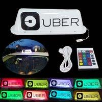 baterías de control remoto para el coche al por mayor-35CM UBER Logo Cab Sign Luces superiores del coche Recarga de la batería Control remoto 12 colores para taxistas