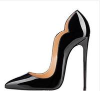 sapatos de senhoras vermelhas venda por atacado-New extreme bottom vermelho sapatos de salto alto para a mulher 8 cm 10 cm 12 cm sapatos de festa de salto fino slip-on sapatos femininos plus size personalizar 34-44 # 9014
