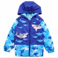 Wholesale coats sports for kids resale online - Boys Trench Coat Windproof Rainproof Jacket Sport Boy Shark Cartoon Hooded Windbreaker for Trench Coat Kid korean jacket for boy