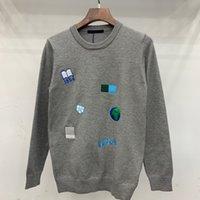erkekler ince pullu toptan satış-19AW Lüks Avrupa Triko Nakış İnce Yün Kazak Moda Crewneck Çift Kadınlar Erkek Tasarımcı Yüksek Kalite Triko HFXHMY010