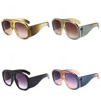 nomes de óculos de sol venda por atacado-Oversized Frame Óculos De Sol Femininos Tendência Street Beat Óculos Rodada Big Nome Óculos de Cor Contraste de Plástico Bardian Moda 13cc C1