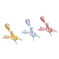 12мм бусины оптовых-Стерлингового серебра 925 женщин кулон Ангел CZ подходят 5-12 мм круглый шарик Жемчужина полу крепление кулон установка Оптовая